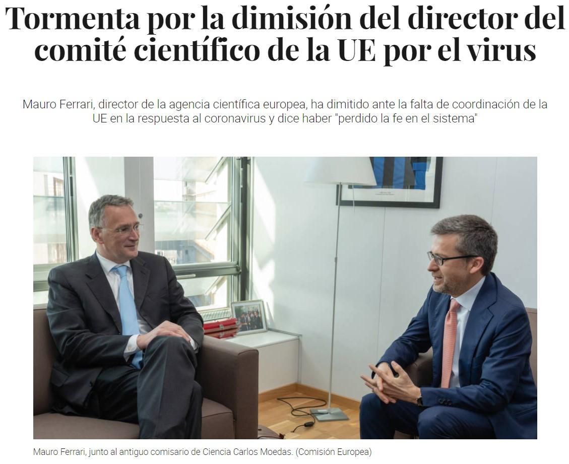 """Dimite el director del comité científico de la UE por la falta de coordinación en la UE, y dice haber """"perdido la fe en el sistema"""""""