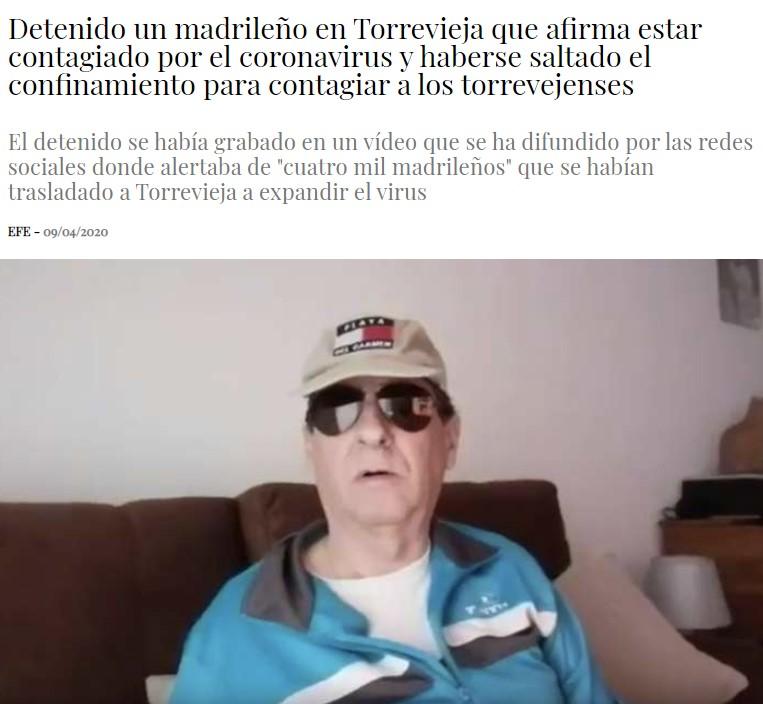 Un señor de Madrid viaja a Torrevieja para putear a la gente y contagiarles el virus