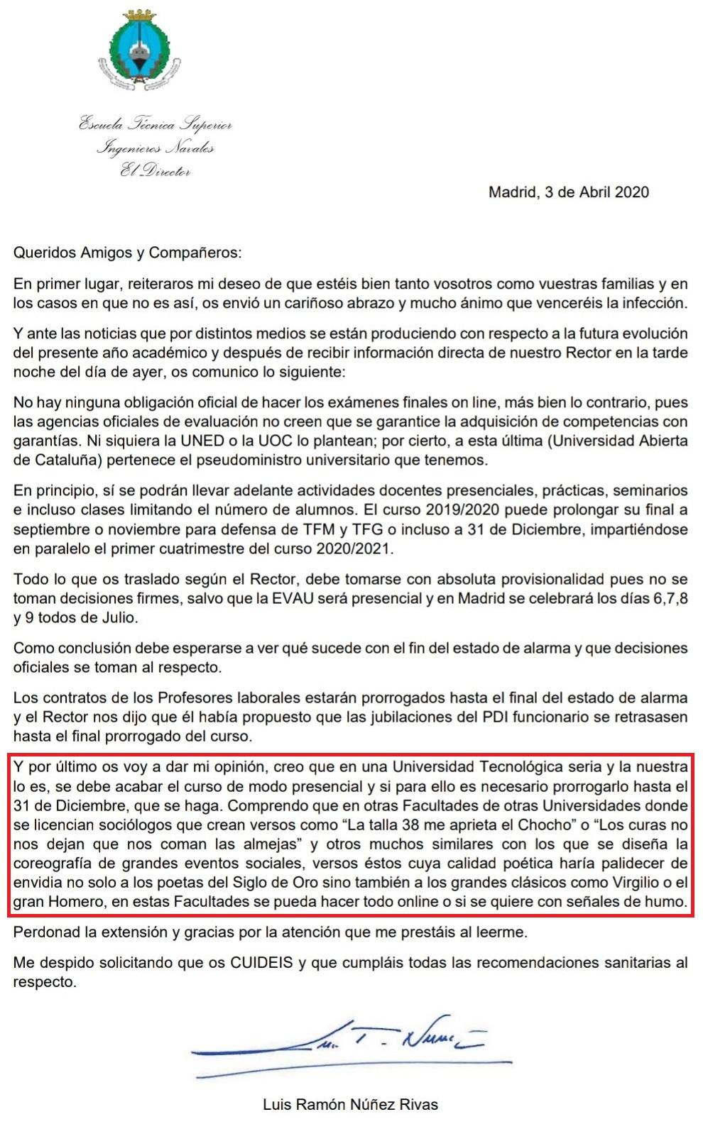 Carta del director de la Facultad de Ingenieros Navales a sus alumnos (ojo al último párrafo)