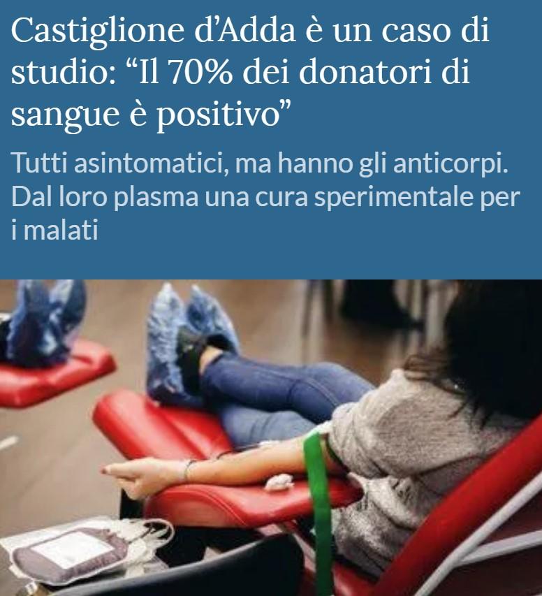 De 60 voluntarios que han donado sangre en Italia, 40 dan positivo por anticuerpos de coronabicho