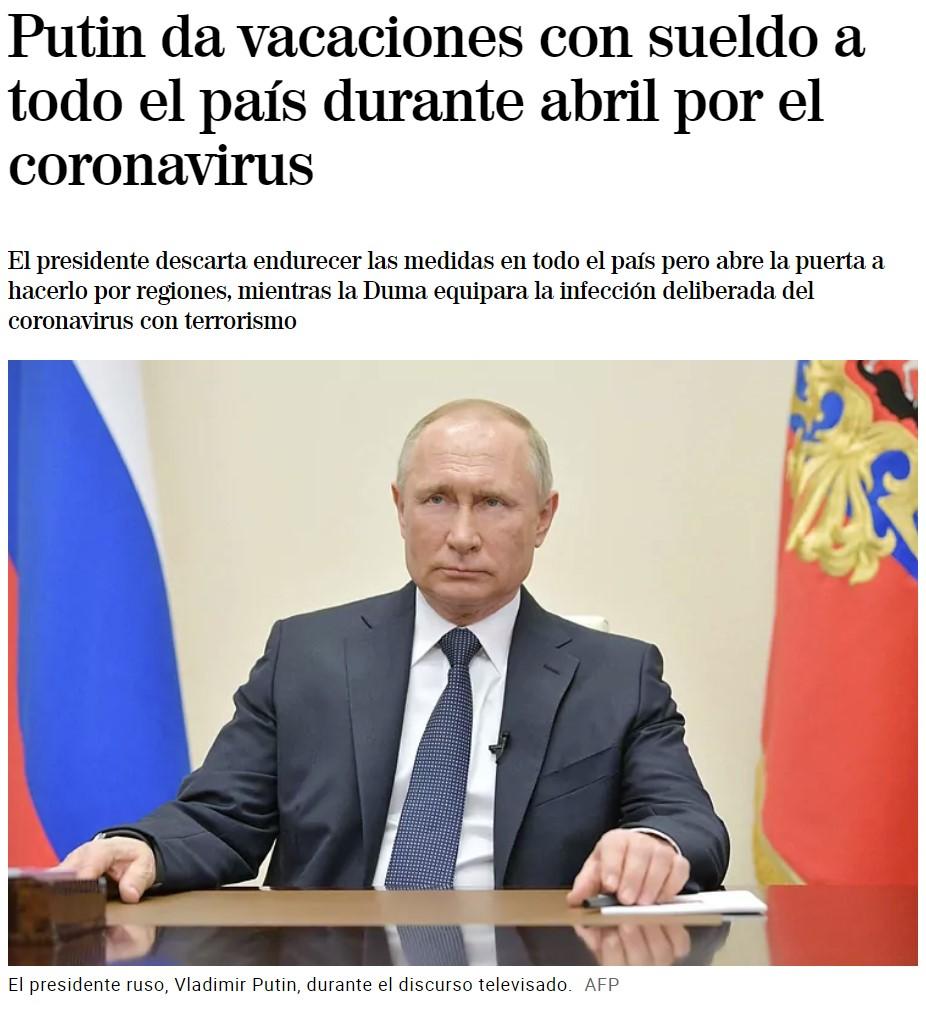 Putin: un mes de vacaciones pagadas por pandemia mundial