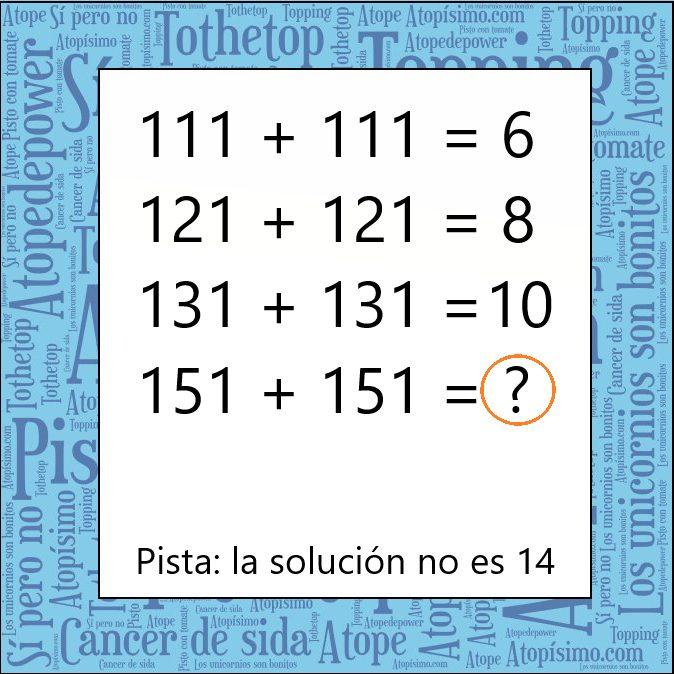 Venga, si tardas más de 5 minutos en resolverlo estás SUSPENDIDO en inteligensia