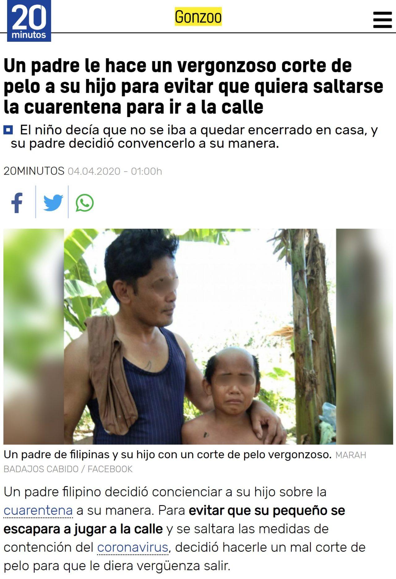 Le corta el pelo a su hijo de forma demigrante para que le de vergüenza salir a la calle y así respete la cuarentena