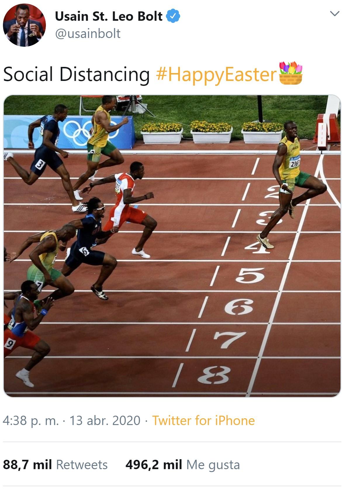"""No es feik. Usain Bolt ha llamado """"distanciamiento social"""" a los dos metros que suele sacarle a sus rivales antes de meta"""