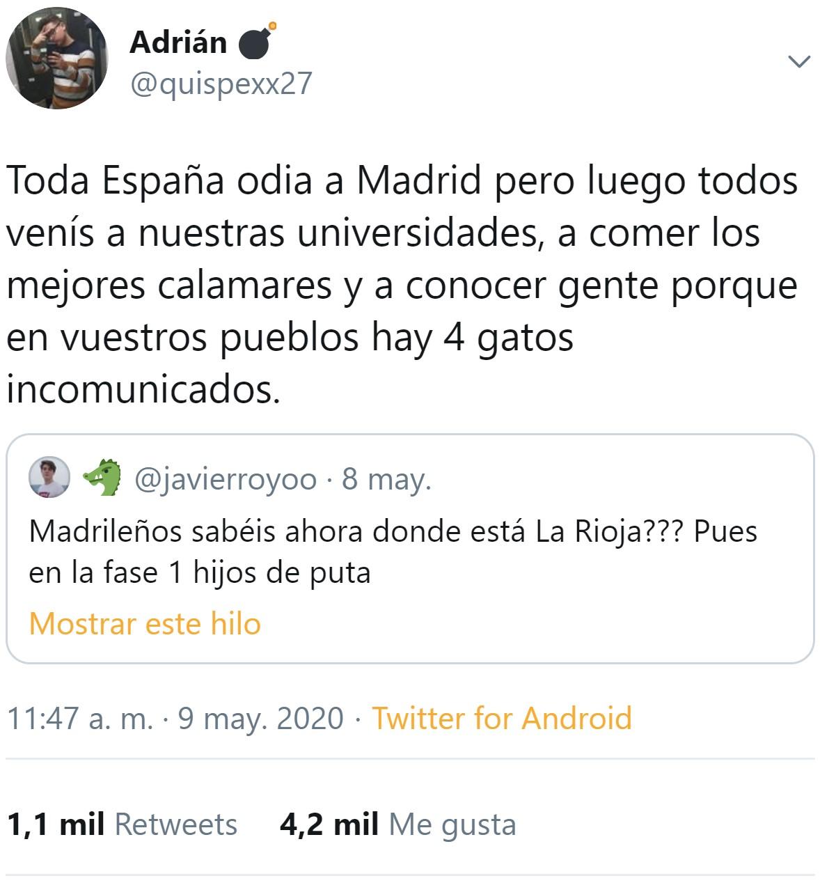 """Toda España odia a Madrid"""