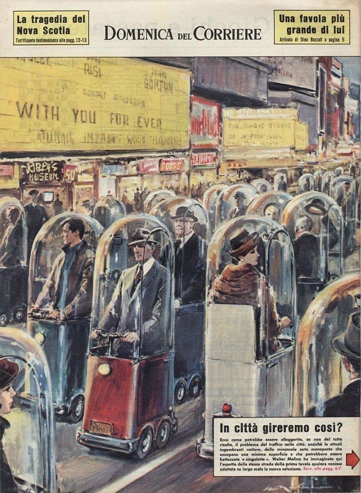 """Una ilustración del semanario italiano """"Domenica Del Corriere"""", de 1962, muestra cómo se imaginaban a la sociedad en 2022."""