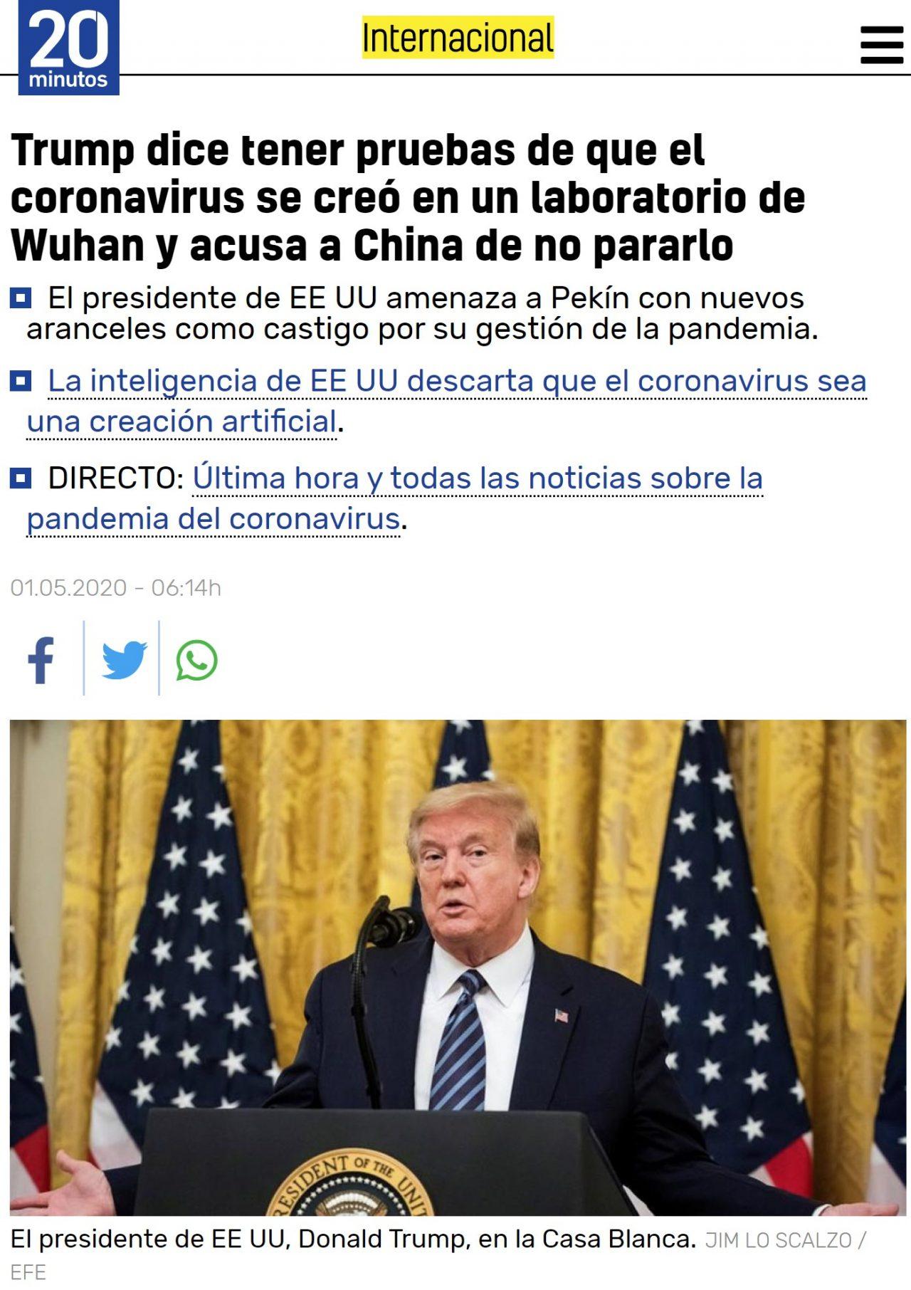 Trump dice que el virus lo creó China en un laboratorio, y que tiene pruebas de ello