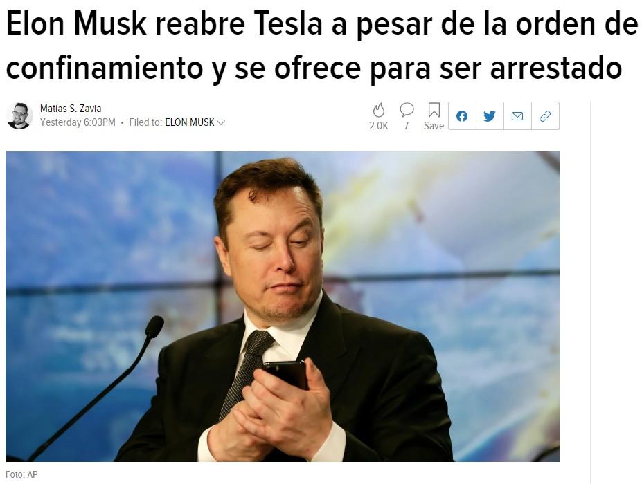 Elon Musk reabre Tesla a riesgo de ser detenido