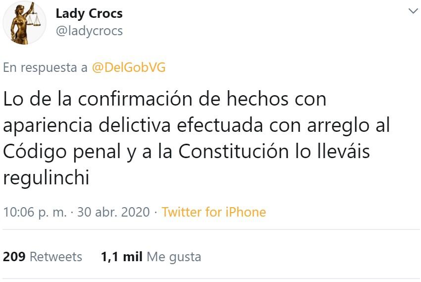 """Sí, un tuit del gobierno que junta las palabras """"confirmamos"""" y """"presuntamente"""" en el mismo tuit"""