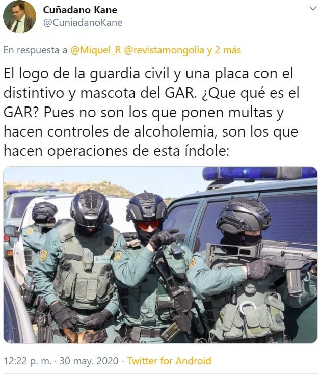 """Un señor que quiere dejarnos claro que pertenece o ha pertenecido al cuerpo de la Guardia Civil, le envía un mensaje al """"coletas"""""""
