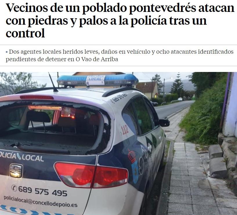 Vecinos de un poblado pontevedrés atacan con piedras y palos a la policía tras un control