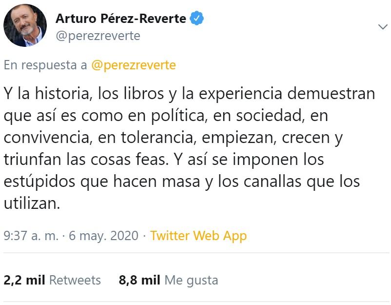 """Arturo Pérez-Reverte: """"En España ya no existe la libertad de pensamiento"""""""