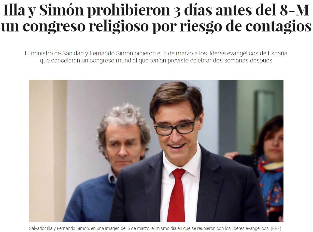 El ministro de Sanidad y Fernando Simón pidieron el 5 de marzo a los líderes evangélicos de España que cancelaran un congreso mundial que tenían previsto celebrar dos semanas después