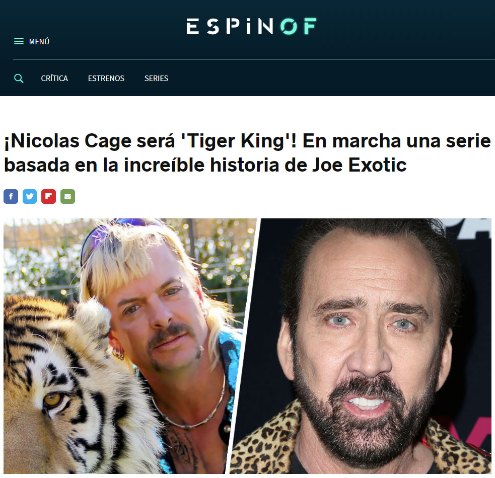 Notición: Nicolas Cage interpretará a Joe Exotic en una serie basada en 'Tiger King'