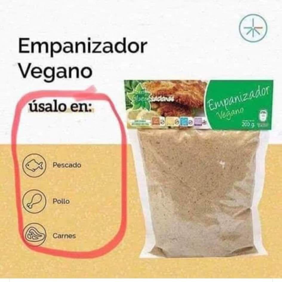 Ah, muy útil que el pan rayado sea vegano, sí...