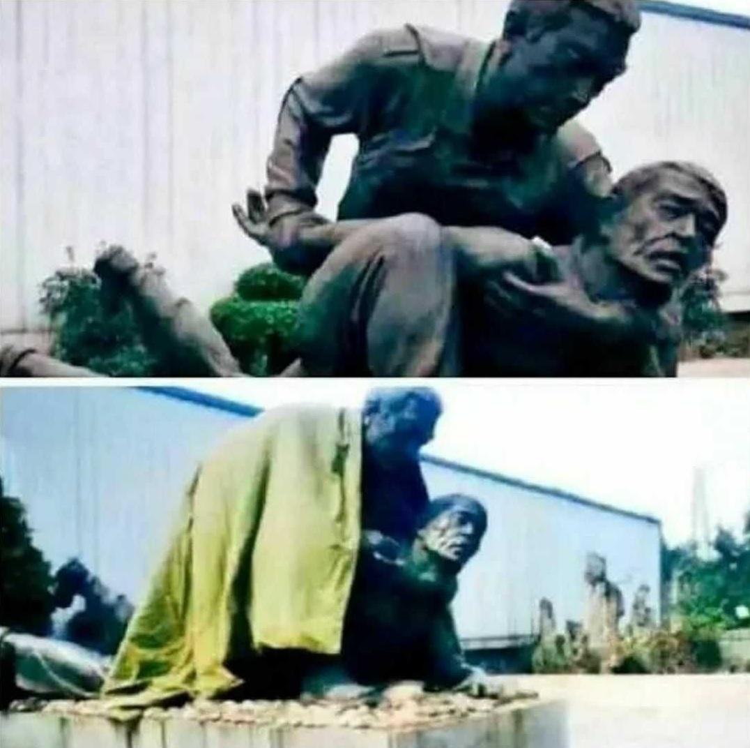 Algunas estatuas quedan un poco regular si les pones una manta por encima...