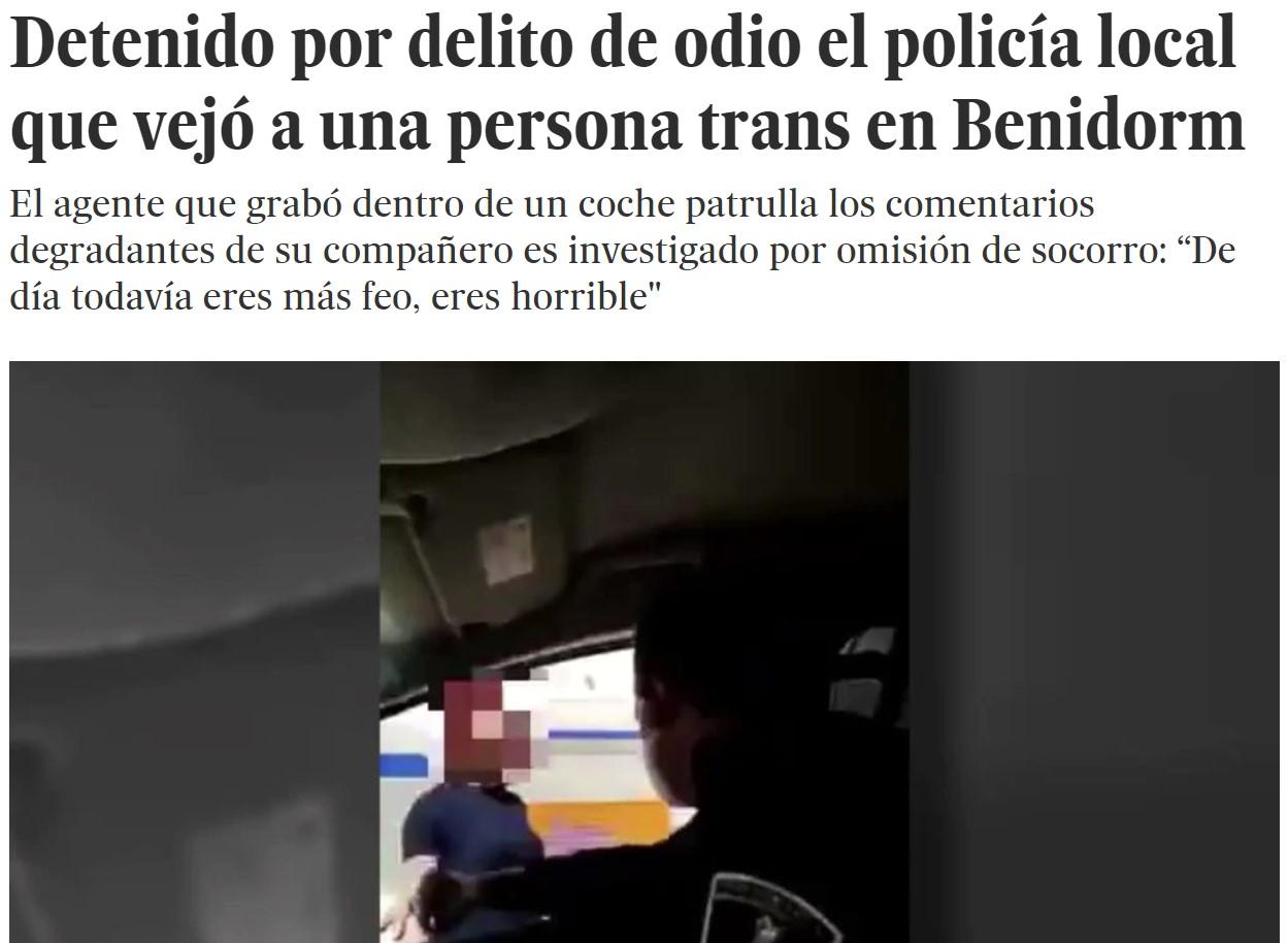 Detenido el policía que humilló a una transexual