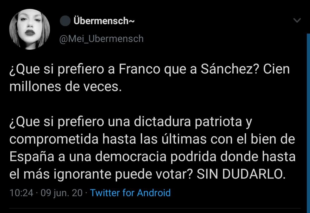 """""""¿Que te guste Franco significa ser franquista? ¡Qué país este!"""""""