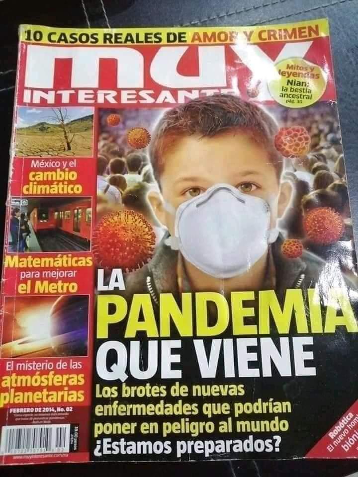 """Revista Muy Interesante en 2014: """"LA PANDEMIA QUE VIENE"""""""
