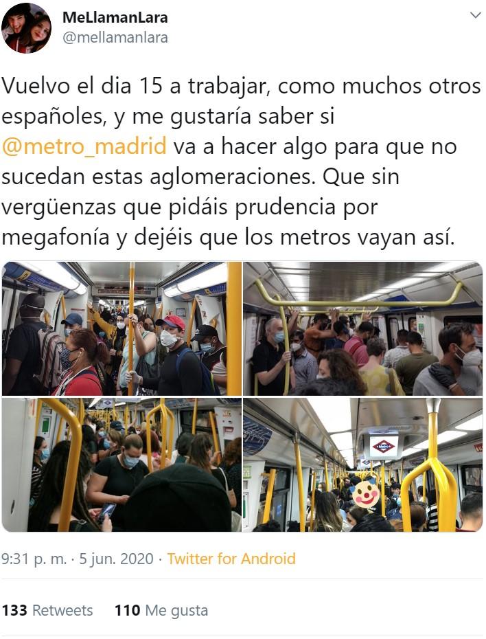 Así estaba el metro el viernes, y hoy se reincorporan 250.000 madrileños más al trabajo... 😳