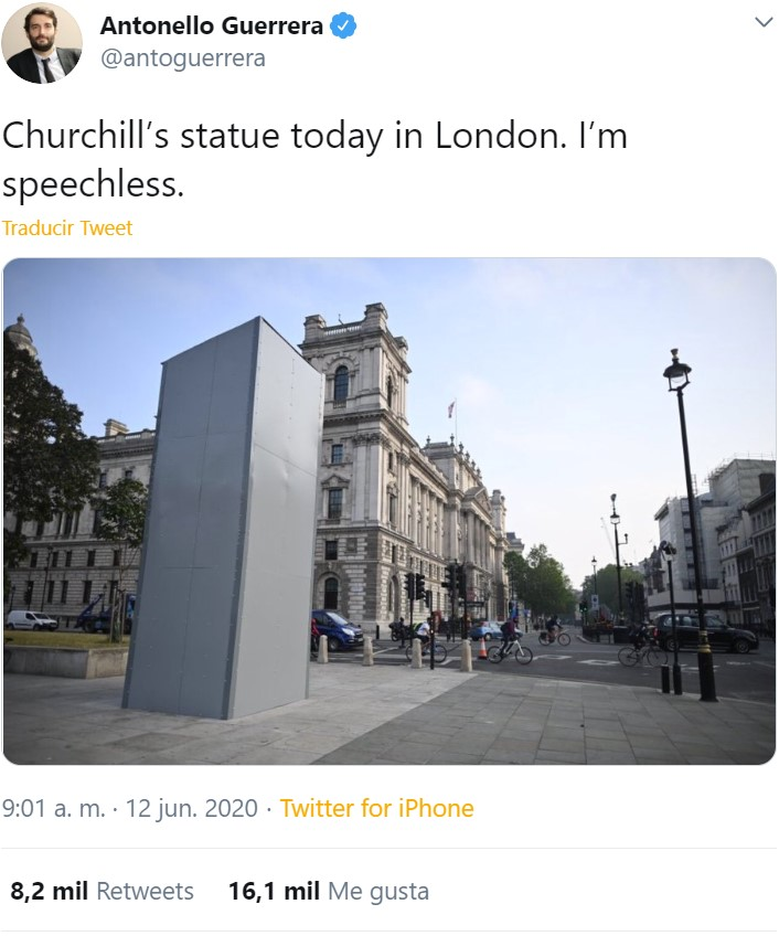 La estatua de Churchill hoy en Londres