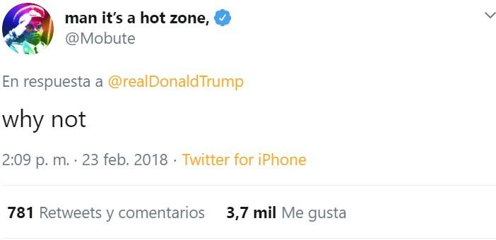Publico esto solo para recordaros que un crack le soltó un zasca a Trump y ahí sigue el tuit dos años después
