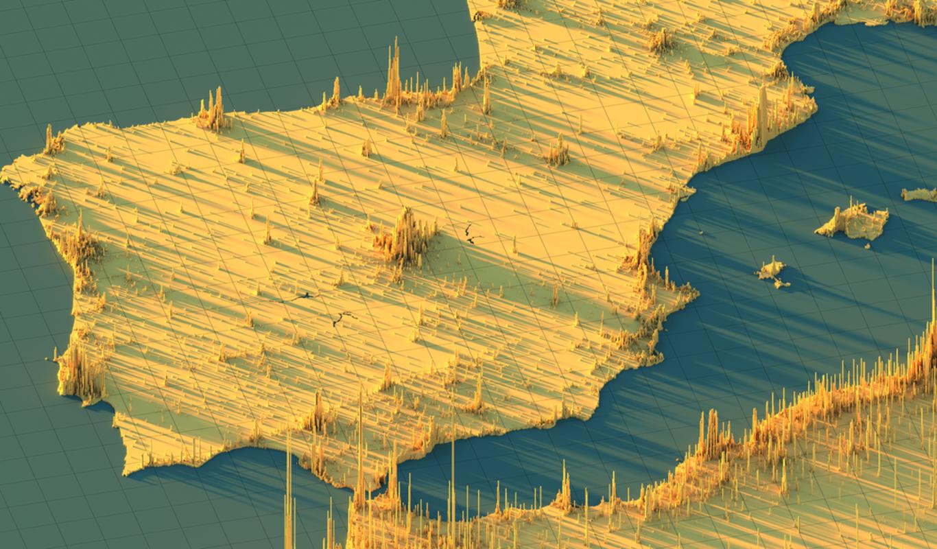 Densidad de población en la Península Ibérica usando un mapa de picos 3D