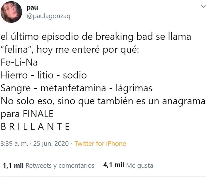 """¿Por qué el último capítulo de Breaking Bad se llama """"FeLiNa""""?"""