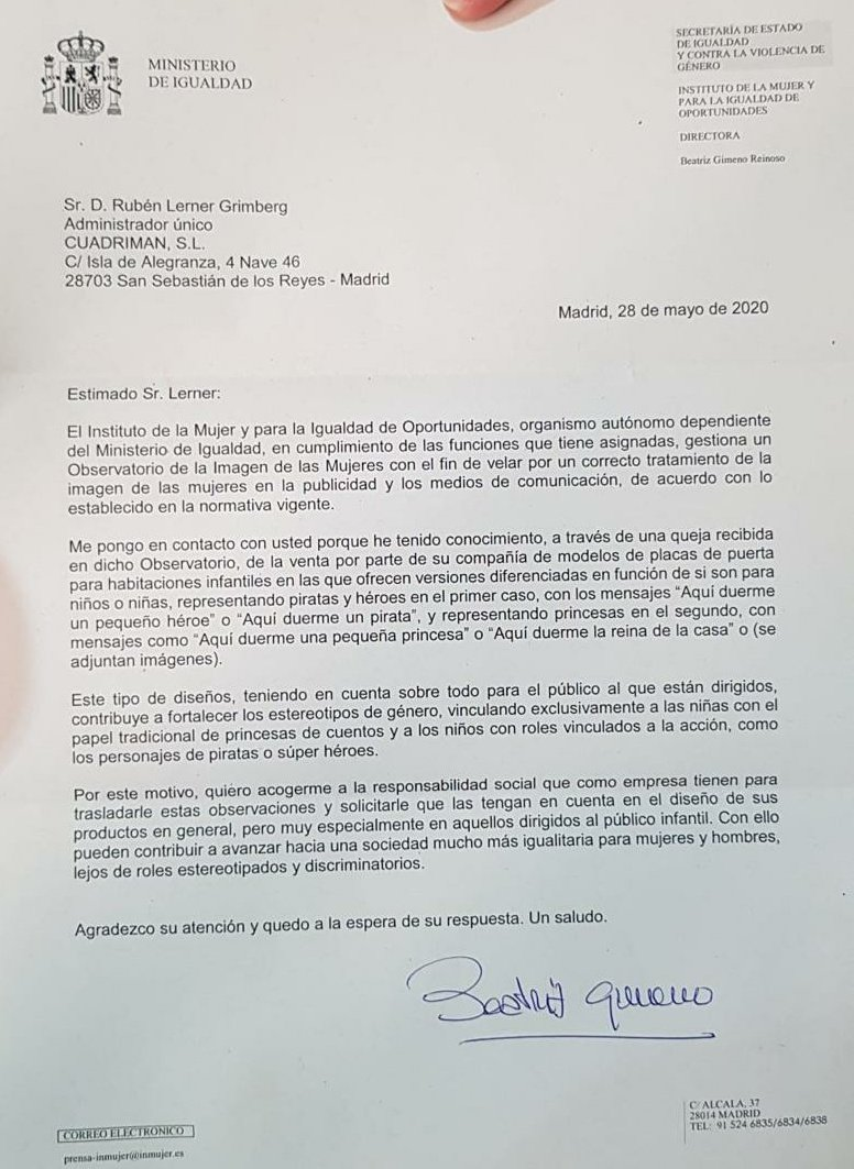 El ministerio de Igualdad le ha mandado esta carta a un empresario