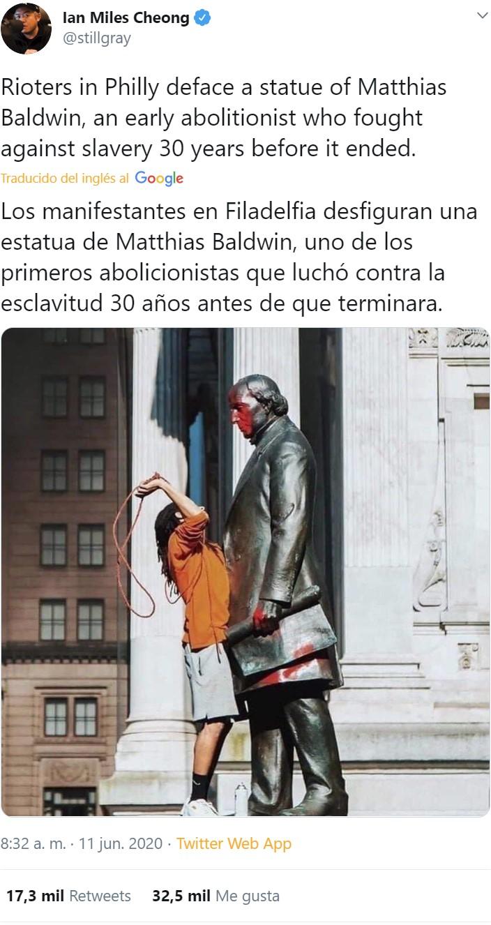 Han atacado en Filadelfia el monumento a Matthias Baldwin, fabricante de locomotoras y abierto opositor a la esclavitud (lo que le valió pérdidas en el Sur) que en 1835 financió la creación de una escuela para negros y pagó el sueldo de los profesores de su bolsillo durante años