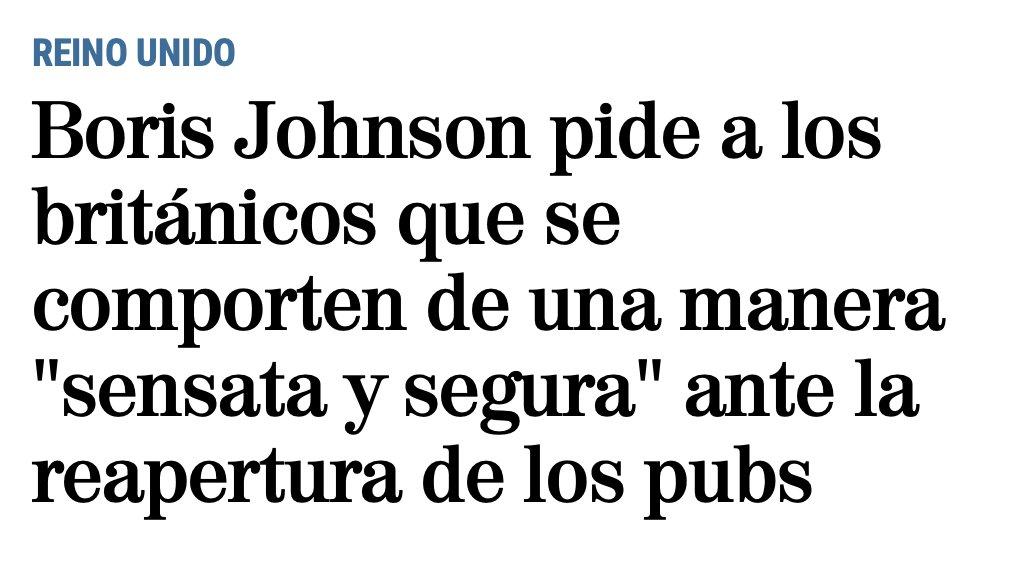 Boris Johnson pidiendo a los ingleses que sean sensatos durante la reapertura de los pubs... te tienes que reír.