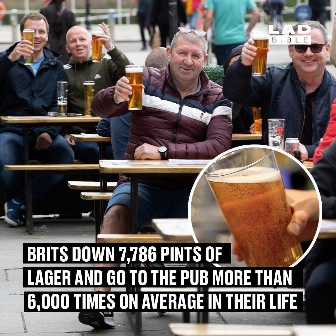 Los británicos se meten entre pecho y espalda 7786 pintas de lager, y van al pub más de 6000 veces de media en su vida