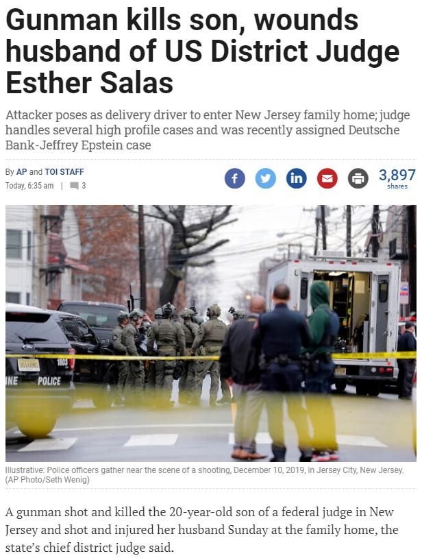 Asesinado el hijo de la jueza que lleva el caso Epstein