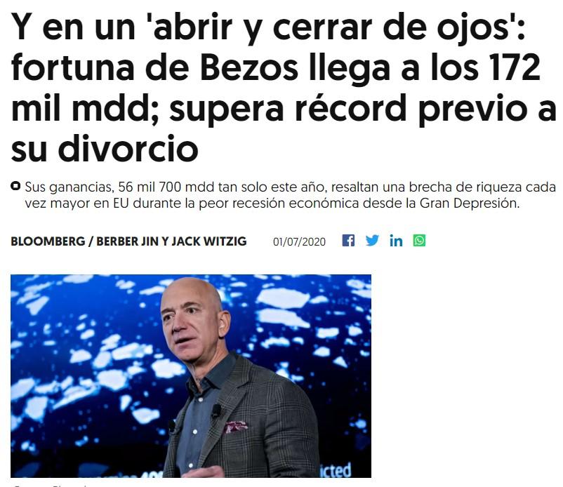 Jeff Bezos tiene más dinero que antes de su divorcio (172.000 millones de dólares), y eso que fue el más caro de la historia...