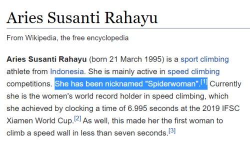 Hace unos meses la escaladora Aries Susanti Rahayu batió el record del mundo de speed climbing