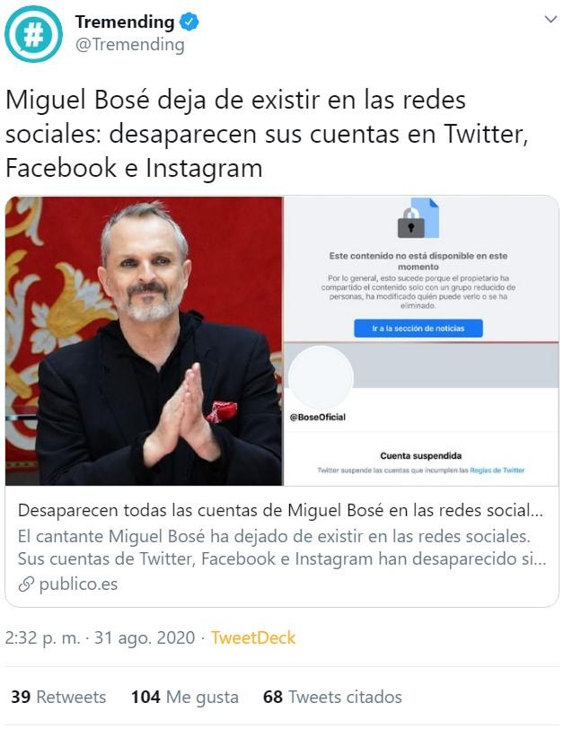 Españoles... Españolas... Miguel Bosé ha desaparesido de las redes sociales.