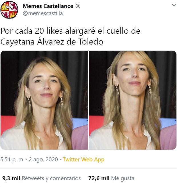 La iniciativa importante del día: una estirada de cuello a Cayetana Álvarez de Toledo por cada 20 likes