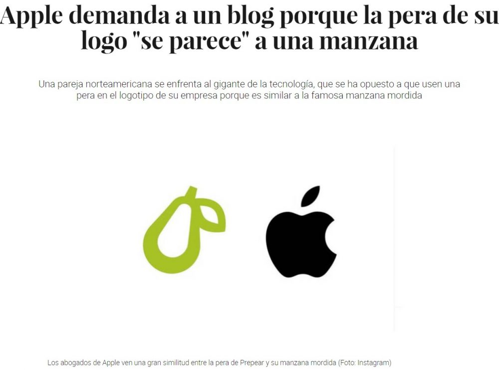 "Apple: ""Tu pera se parece a mi manzana... POS TE DENUNSIO"""