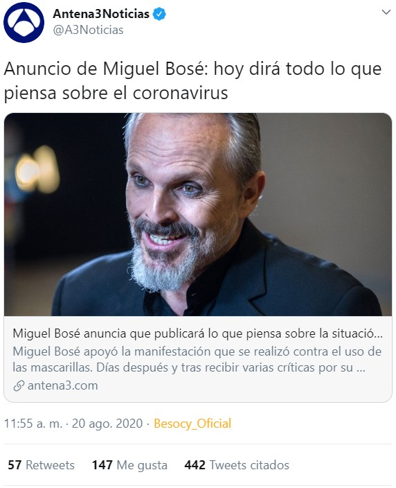 Ya tenemos las declaraciones de Miguel Bosé sobre el virus