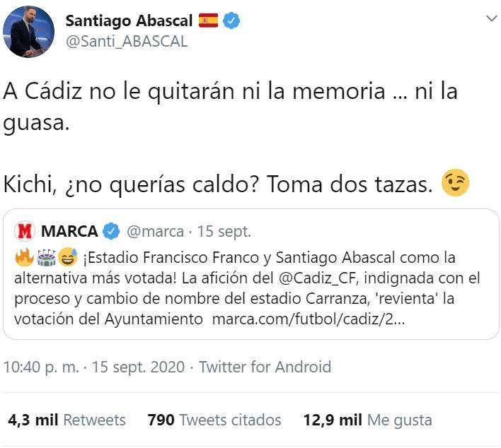 """A ver si me entero... Carranza era de """"ultraderecha"""" y Kichi quería cambiarle el nombre al estadio, así que los gaditanos propusieron dos nombres aún más fachosos: Abascal y Franco."""