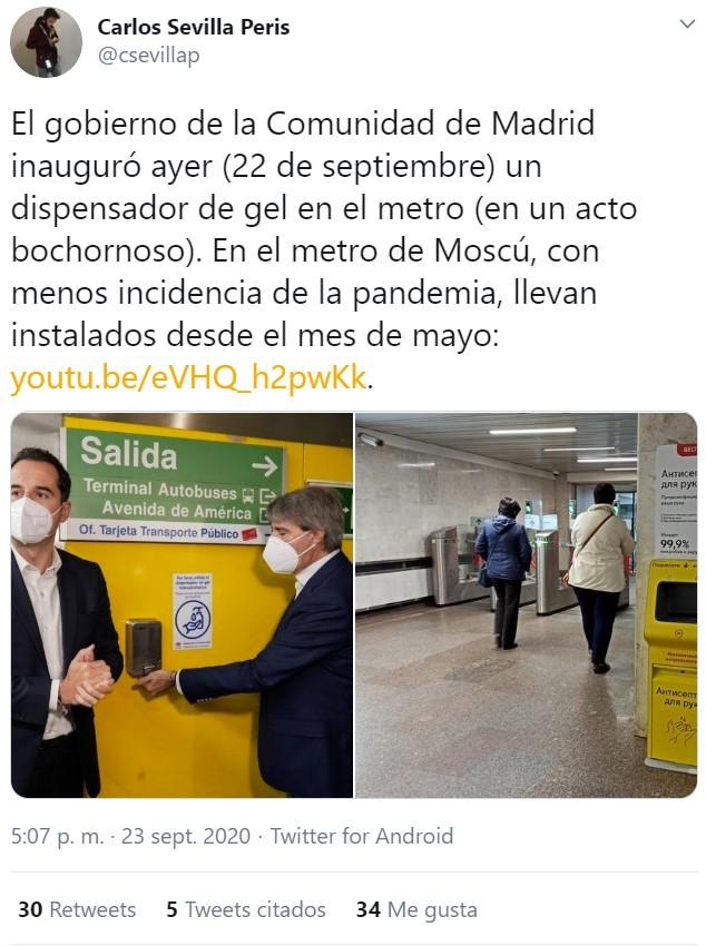 España inaugura un dispensador cutre en el metro de Madrid en SEPTIEMBRE, mientras en otros países ya tienen tecnología alienígena.