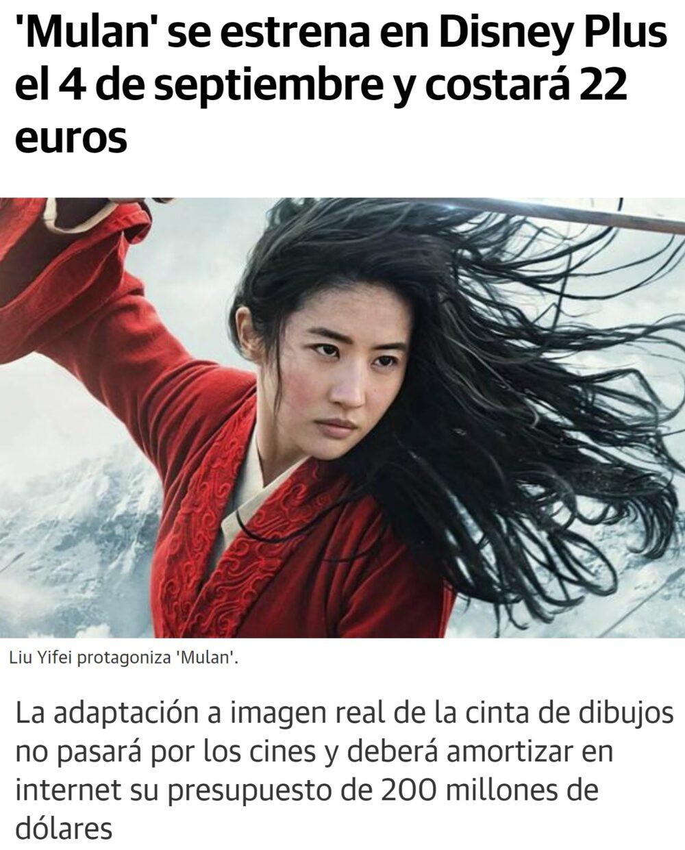 22 euracos por ver Mulán