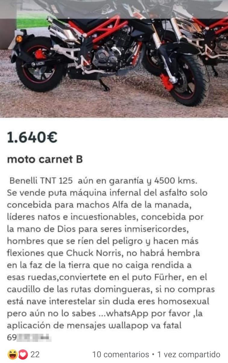 Parece que Torrente vende su moto