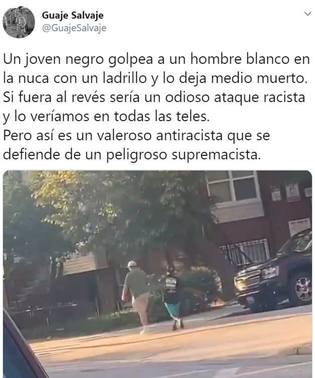 """Un valeroso antiracista que se defiende de un peligroso supremacista"""