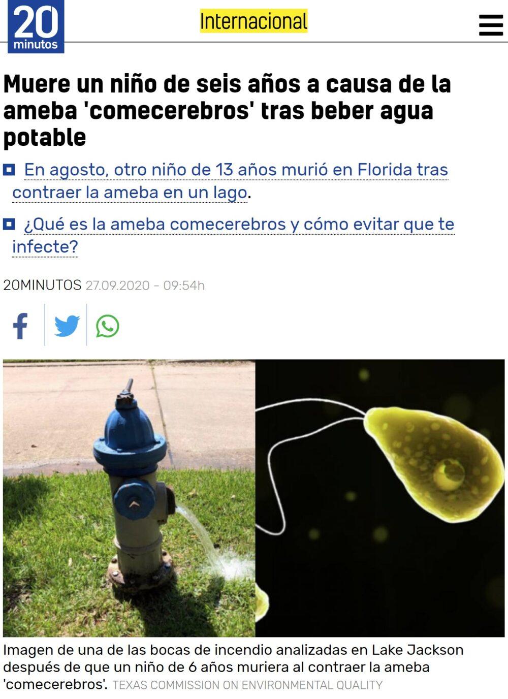 2020 no da tregua: Descubren que el agua del lago Jackson (Tejas) está infectado por amebas comecerebros.