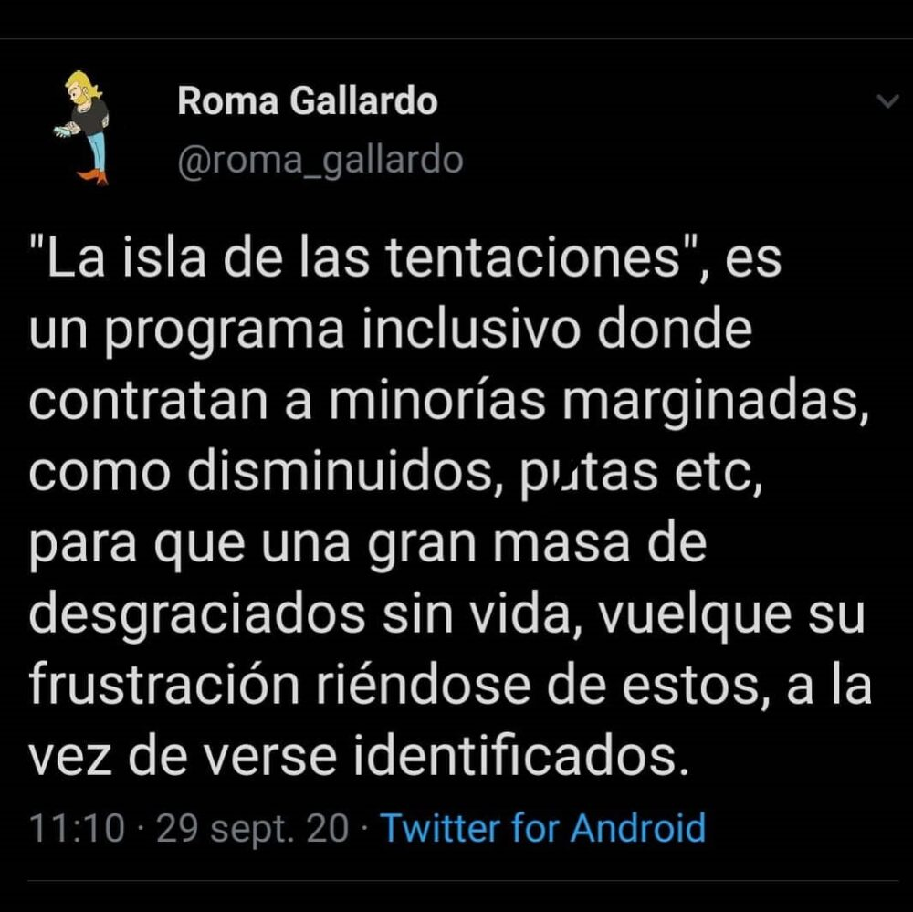 Resumen de La Isla de las Tentaciones según Roma Gallardo