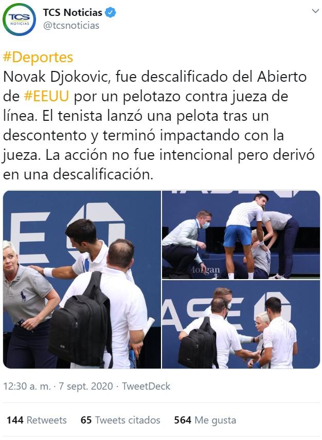 Djokovic descalificado del Abierto de EEUU por darle un pelotazo sin querer a una juez de línea