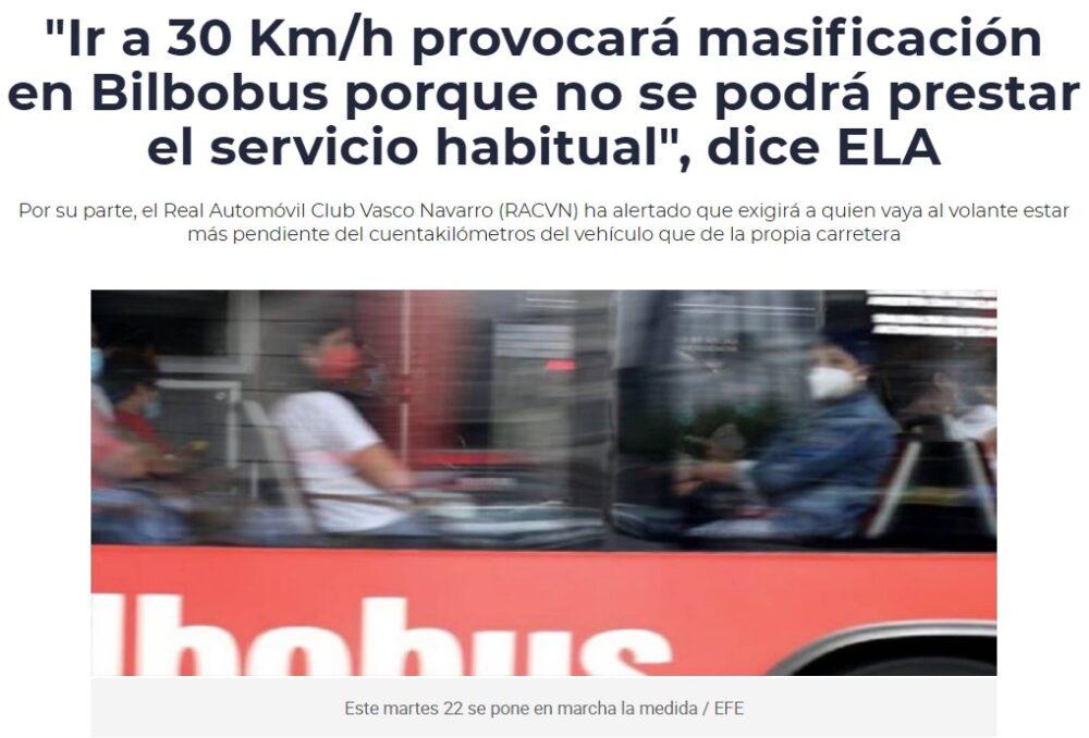"""Bilbao: """"Circular a 30Km/h incrementa la contaminación y hace sufrir a los motores"""""""