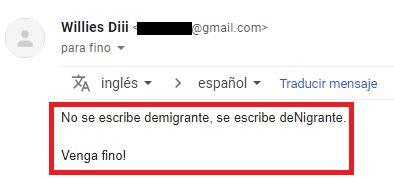 Casi todos los días me llega algún mail diciéndome que no se escribe deMigrante, sino deNigrante...