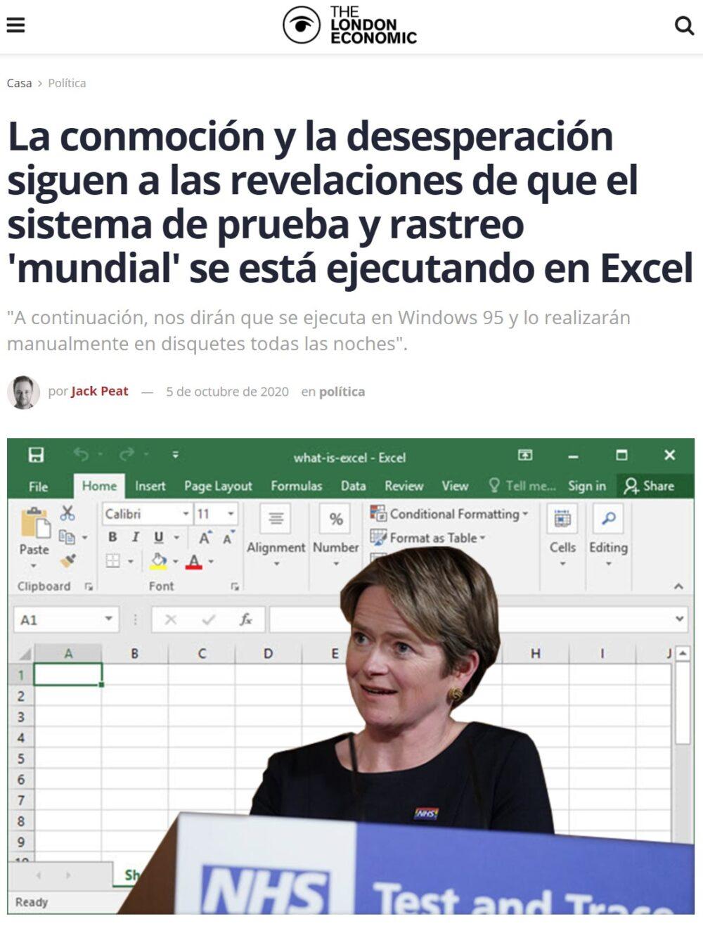 Alarma en el Reino Unido por un fallo técnico en el recuento de contagios: Excel tiene un máximo de celdas que se ha visto superado por los casos, quedando fuera todos los demás